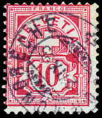 Stamp printed in the Switzerland shows value and the cross — Stock Photo