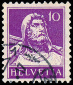 Stamp printed in Switzerland shows William Tell — Zdjęcie stockowe