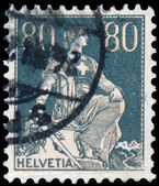 Stamp printed by Switzerland, shows Helvetia — 图库照片