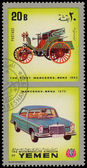 YEMEN - CIRCA 1970: Yemen 3c stamp commemorates first Mercedes B — Photo