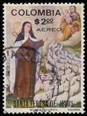 Stamp printed in the Colombia shows St. Theresa — Stock Photo