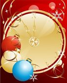 Christmas background with a clock — Stock Vector
