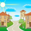 Royalty-Free Stock Vector Image: Quiet street on a sunny day