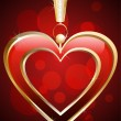 Vector de stock : Pendant in shape of red heart