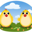 Funny chicks - Stock Vector