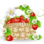 Basket of strawberries — Stock Vector #26631871