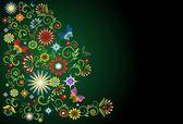 Fondo floral oscuro con elementos vegetativos — Vector de stock