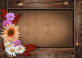 Krásné podzimní pozadí s dřevěnou kostru a květiny na plechovku — Stock fotografie