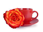 Still life with a mug and a beautiful rose — Stock Photo