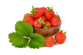 Strawberry berry with green leaf  isolated on white background — Stock Photo