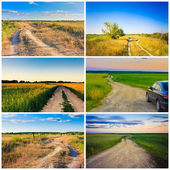 Dusty road. Set, Collage — Stock Photo