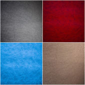 Set of Leather Texture Made From Deer Skin (Red, Blue, Black, Be — Stock Photo