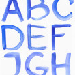 Handwritten Blue Watercolor ABC Alphabet — Stock Photo