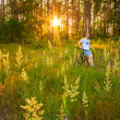 Young man on the GT bicycle biking through a sunny forest. MINSK — Stock Photo