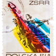 Stamp printed in the Poland shows Man and Woman, Sculpture by Wi — Stock Photo #39172027