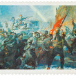 "Stamp printed in USSR shows the ""Assault of winter palace"", by V — Stock Photo #39175897"