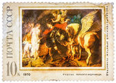 Old used USSR postage stamp issued in honor of the great Flemish — Foto Stock
