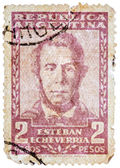 Stamp printed in the Argentina, shows Esteban Echeverria (overpr — Stock Photo