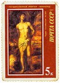 "Stamp printed in USSR (Russia) shows a painting ""Saint Sebastian — Stock Photo"