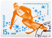 Stamp printed in USSR shows Speed figure skiing, from the series — 图库照片