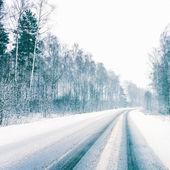 Snowy Land Road — Stock Photo