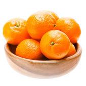 Tasty Sweet Tangerine Orange Mandarin Mandarine Fruit In Wooden — Stock Photo