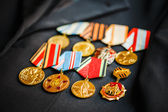 Anniversary medals of a victory in the Great Patriotic War on a  — Stock Photo