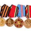 Stock Photo: Collection of Russi(soviet) medals for participation in S