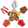 Collection of Russian (soviet) medals for participation in the S — Stock Photo #41822195
