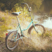 Little green bicycle standing on green summer meadow — Stock Photo