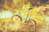 Little green bicycle standing on green summer meadow — Photo