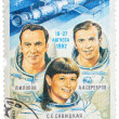 Постер, плакат: Post stamp printed in USSR Russia shows astronauts Popov Ser