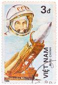 Postage stamp printed in Vietnam shows first spaceman Yuri Gagar — Stock Photo