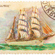 Stamp from USSR shows image of 4 masted bark Tovarich I — Stock Photo #41873187