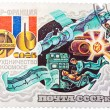 Stamp printed by Russia, shows Intercosmos Cooperative Space Pro — Stock Photo #41876987