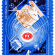 Stamp printed by USSR shows Satellites Radio 1 and Radio 2 in sp — Foto de stock #41941643