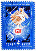 Stamp printed by USSR shows Satellites Radio 1 and Radio 2 in sp — Foto Stock