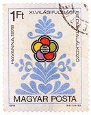 Stamp printed in Hungary shows Congress emblem as flower — Stock Photo
