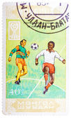 Stamp printed in Mongolia shows Football world championship of j — Стоковое фото