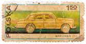 Stamp printed in POLAND shows Passenger car Warszawa 223 — Stock Photo