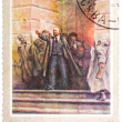 """Stamp printed in the USSR shows a painting """"Lenin on Steps of Wi — Stock Photo"""