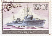 """Stamp printed in The Soviet Union devoted to warship """"Gafel"""" — Stock Photo"""