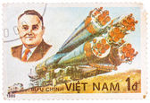 Stamp printed in the Vietnam shows Korolev spacecraft designer a — Stockfoto