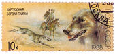 Stamp printed in USSR, shows Kirghiz greyhound, falconry, series — Stock Photo