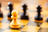 White and black chess pawns standing on chessboard — Stock Photo