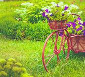 在花园装饰自行车 — 图库照片