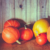 Pumpkins On Grunge Wooden Backdrop Background — Stock Photo