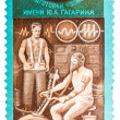 Stamp printed in the USSR shows training of cosmonauts, one stam — Stock Photo #44653369