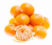 Peeled mandarin tangerine orange fruit isolated on white backgro — Stock Photo