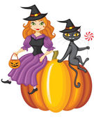 Witch and a cat sitting on a pumpkin — Stock Vector